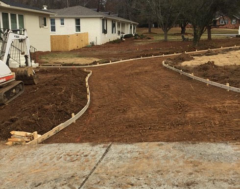 Circle driveway graded & concrete ready to pour